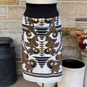 Dots Plus Size Stretch Pencil Skirt